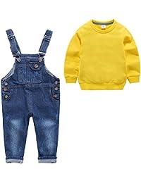 「Chamel」子供服 Tシャツ ショートパンツ 長袖長ズボン キッズ 女の子 男の子 オーバーオール 上下 2点セット かわいい ミニオン風 2~8歳
