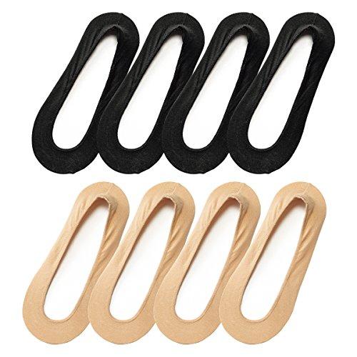 (ニッセン) nissen レディース 大きいサイズ フットカバー カバーソックス 浅履き セット 8足組 無地 綿混 幅広対応 黒+ベージュ 23~25cm