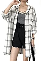 YiTong レディース シャツ 夏 長袖 Tシャツ カーディガン 日焼け止め服 チェック柄 上着 スリム 薄手 通気 韓国風 カジュアル Yシャツ 紫外線防止 ゆったり ファッションホワイト