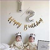 MOFFY 【 大好きを伝える 】 HAPPYBIRTHDAY 筆記体 ガーランド 金色 ゴールド 赤ちゃん 誕生日 ハーフバースデー 飾り ハッピーバースデー 小物