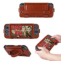 For Nintendo Switch 2017 Case, [Extra Card Slot] Happon [Wallet Case] PU Leather TPU Casing Defender Cover Case [Drop Protection] Case Replacement for Nintendo Switch 2017, Brown
