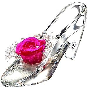 TEATSIGHT プリザーブドフラワー ガラス製 ハイヒール ガラスの靴 (バラ かすみ草 ピンク)