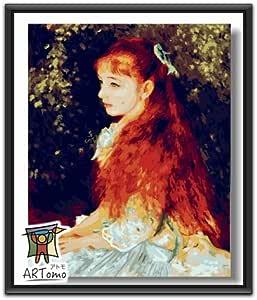 ARTomo【アトモ】パズル油絵『フレーム付き|世界名画』数字 油画 DIY 塗り絵 本格的な油絵が誰でも簡単に楽しく描ける 40x50cm【ルノワール|イレーヌ・カーン・ダンヴェール嬢】