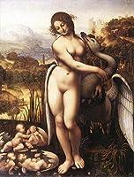 手書き-キャンバスの油絵 - 美術大学の先生直筆 - Leda and the Swan 1505 レオナルド・ダ・ヴィンチ 鳥 動物 絵画 洋画 複製画 -サイズ08