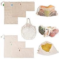 Hangnuo 再利用可能な野菜バッグ メッシュ製 丈夫なモスリンと食料品のトートバッグ 7枚セット - コットン製食品バッグ ギザギザの重量タグ付き 果物や野菜を新鮮に保ちます (L/M/S)