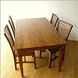 ダイニングテーブル 無垢 天然木 幅160×奥行90cm チークダイニングテーブル160【開梱組立設置】 [wat3448]