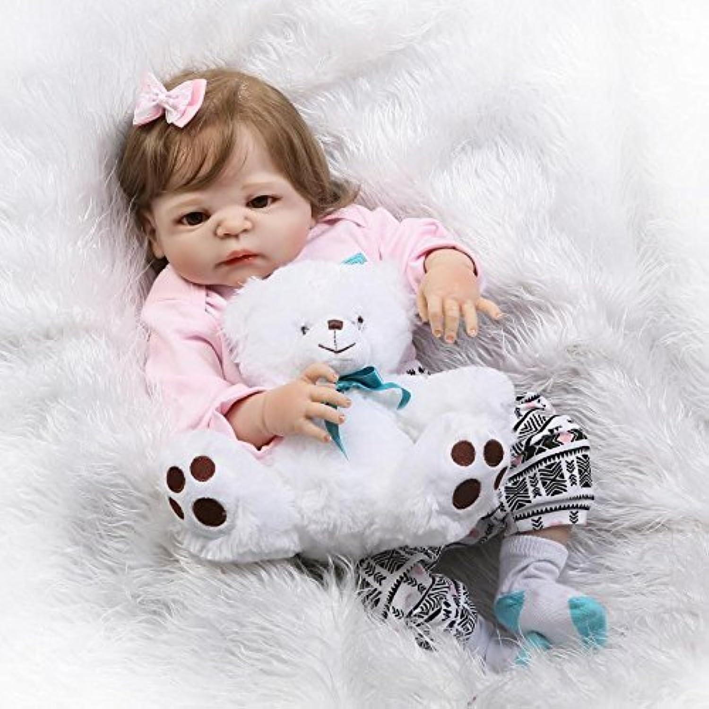 KYWDOLL 完全な、シリコーンボディ、生まれ変わった人形 生きているよう 新生児 リアル 赤ん坊人形 それによって 衣服と熊 磁気の口 22インチ55cm , 女の子人形