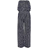 Islander Fashions Womens Bandeau Polka Dot Jumpsuit Ladies Front Frill Wide Leg Palazzo Jumpsuit S/2XL
