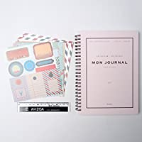 Mon Journal Undated Monthly Weekly Planner with AHZOA Mini Ruler and Sticker Sheet 6ea Set,Dateless Diary Non Dated DIY Self Decorative (Pink) [並行輸入品]
