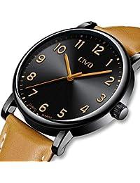 [チーヴォ]CIVO 腕時計薄型 メンズ時計レザー アナログクオーツ防水ウオッチブラック シンプルデザイン 本革 おしゃれ ファッション ビジネス カジュア 男性腕時計ブラウン