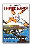 1938年の大英帝国のゲームシドニー - オーストラリアの150周年記念 - ビンテージスポーツポスター - Charles Meere c.1938 - 美しい世界旅行をテーマにした美術印刷 (33cm x 48cm)