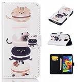 MAIHENG Sumsung Galaxy S5 ケース docomo SC-04F au SCL23 手帳型 カバー サムスン ギャラクシー S5 財布型 人気 可愛い プリント かわいい (レザー+TPU材質) マグネット式 スタンド機能 カードスロット 保護カバー 横開き 開閉しやい 軽薄型 猫 ペット