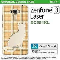 ZC551KL スマホケース ZenFone 3 Laser ZC551KL カバー ゼンフォーン3 猫 チェック茶B nk-zc551kl-956