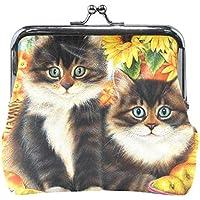 がま口 小銭入れ 財布 猫の兄弟 コインケース レザー製 丸形 軽量 人気 おしゃれ プレゼント ギフト 雑貨