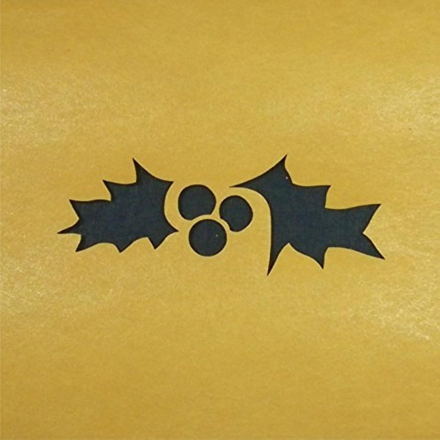 お金と魅力的であることへのアピールステンシルシート クリスマスホーリー 3サイズ型紙  (10cm)