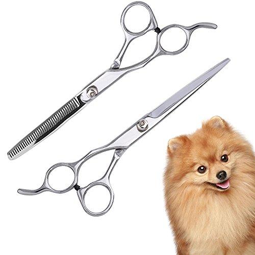 Gliston トリミングシザー トリマー入門に! ペットハサミ シザー トリマーハサミ 犬 猫全身美容工具 ペット用毛切る ハサミセット ステンレス製 専用ケース付き