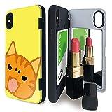 iPhone X/iPhone XS ケース tpu ミラー付き 猫 ネコ キャット ねこ フェイス イエロー アイフォンX アイフォンXS アイフォンテンエス アイフォンテン アイフォン10 アイフォンエックス iPhone10 ねこ柄 iPhoneケース