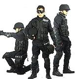 サバゲーカップル続出!!(クラマネットショップ)Kurama net shopブラック 迷彩服  SWAT仕様 特殊火器戦術部隊 戦闘服 上下セット パンツ&ジャケットセット商品 (身長180cm/胸囲128cm)