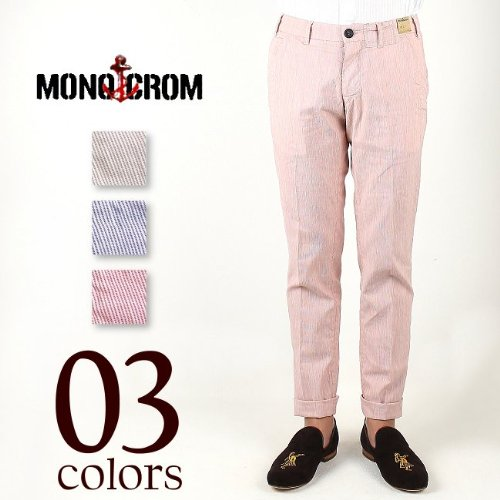 MONOCROM STRIPE COTTON LINEN PANTS MMO12S0003 (3colors) ソリード