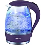 TODO 1.7L Glass Cordless Kettle with Blue LED Indicator Light (Purple)