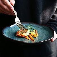磁器プレート - クリエイティブレトロカトラリープレート家庭8インチの浅い料理フルーツサラダデザートプレートステーキプレートディナープレート