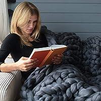 """かさばるニット毛布手作り厚いウール分厚い編み物スロー用寝室の装飾超大型ベッドソファペットマット,Darkgray,40""""x59"""""""