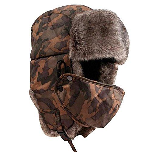 Pawaca スキー帽子 パイロット帽 マスク付き 耳あて付...