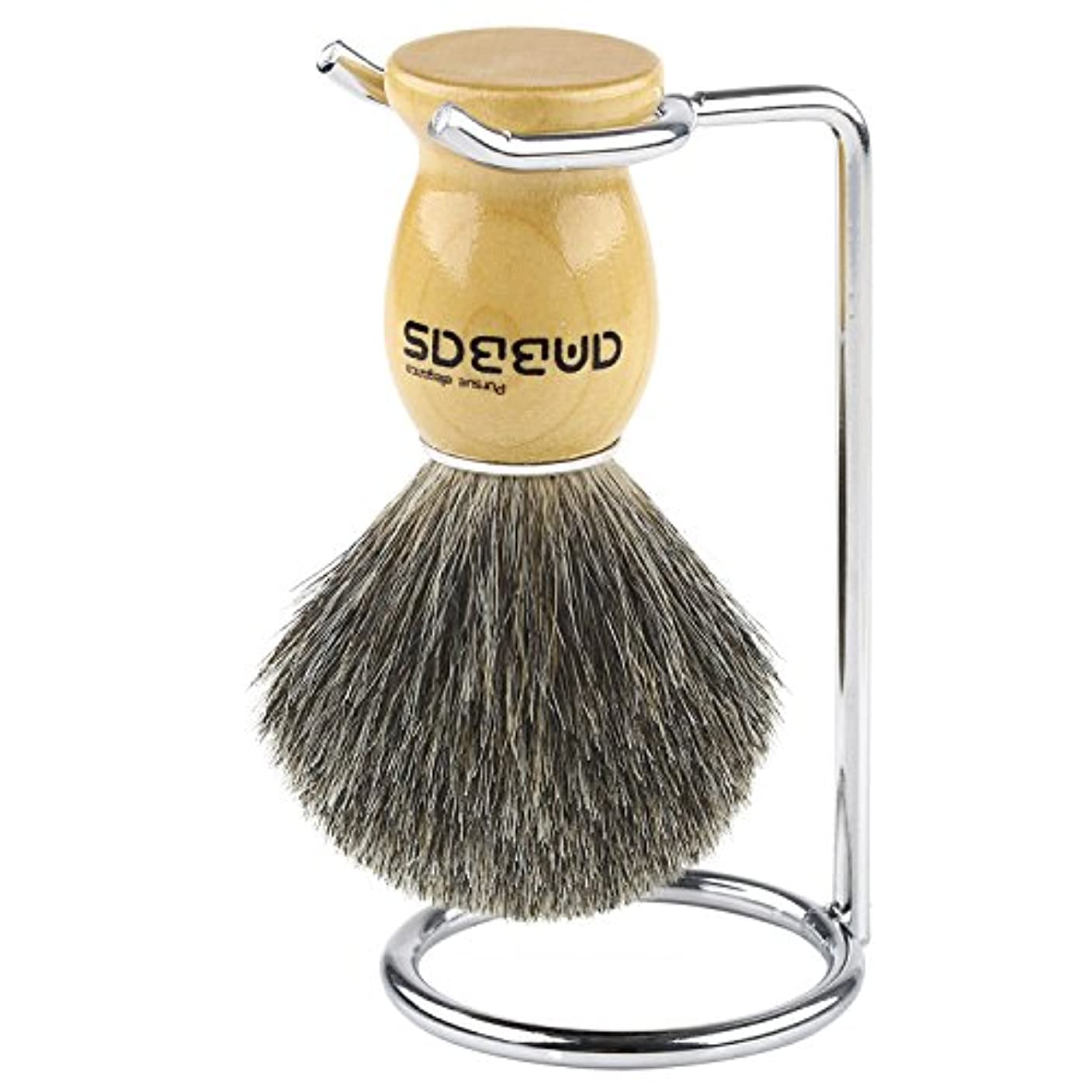 エスカレートく狭いAnbbas シェービングブラシセット アナグマ毛 ブラシ+スタンド 2点セット メンズ 髭剃り 泡立ち 洗顔ブラシ