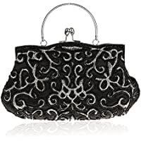 Women Bride Cocktail Party Evening Purse Clutch Bag Beads Handbag Beading Flowers Bag