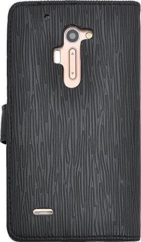 PLATA isai FL LGL24 / isai VL LGV31 ケース 手帳型 ストレート レザー デザイン スタンド ケース 【 ブラック 】 ALGL24-50ABK