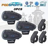 FODSPORTS インカム バイク Bluetooth インターコム ワイヤレス バイク通信機 1200m 5人同時通話 防水 ワイヤレスインカム ツーリング 技適マーク認証済み 3台セット
