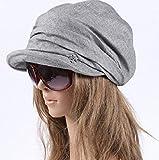 レディース キャスケット帽 綿100% (グレー)