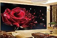 Bzbhart 3D壁紙ドリームホームレッドローズ3D花の背景壁画の壁紙壁紙-120cmx100cm