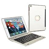 iPad Mini 4用 キーボードケース, COOPER KAI SKEL Bluetooth ワイヤレス キーボード ポータブル ラップトップ Macbook クラムシェル ケース カバー 13 ショートカットキー付き Apple iPad Mini 第4世代用 (シルバー)