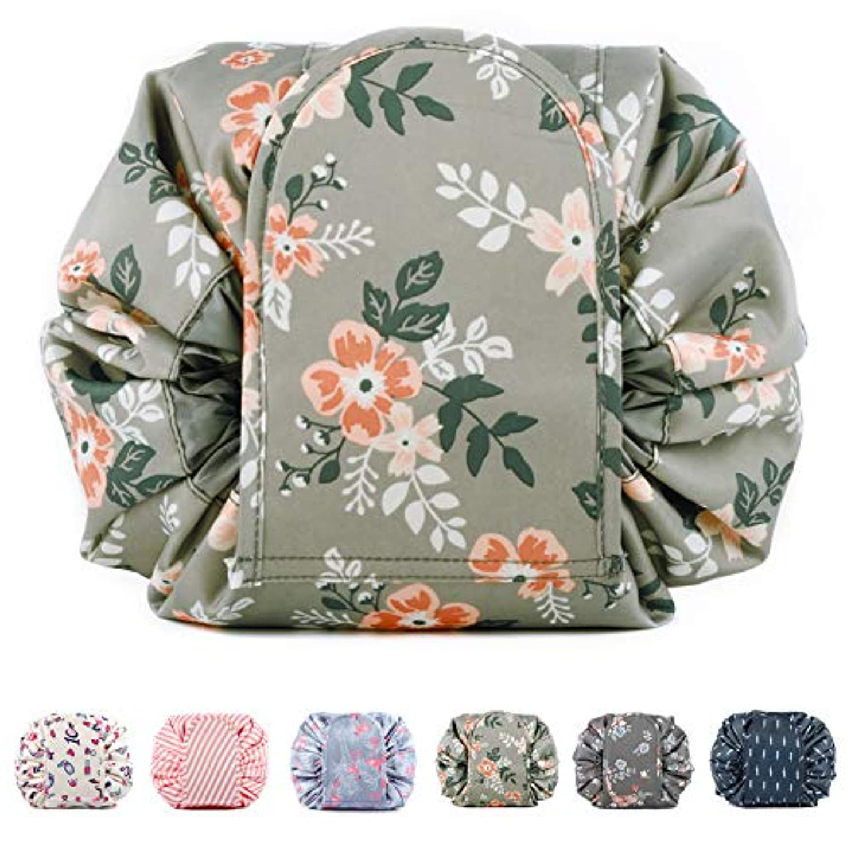 森林ディスク動Narweyレイジー化粧バッグ ドローストリングコスメティックバッグ 大容量 防水 トラベルケース 化粧品収納袋 メイクポータブルバッグ レディース
