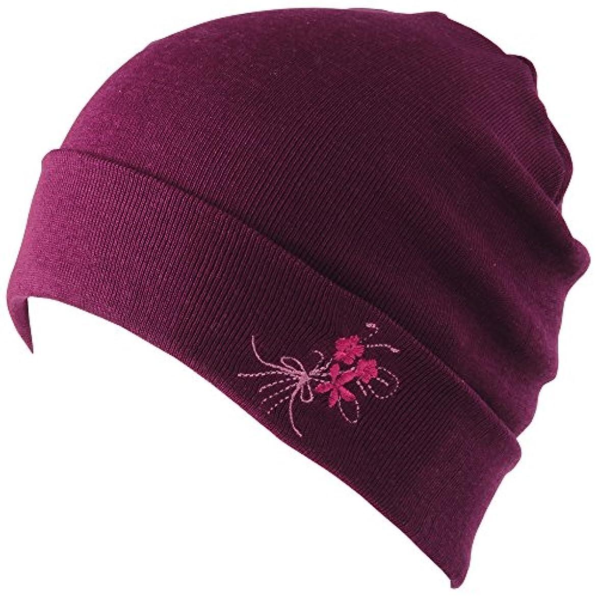 学校砂豪華ななめらかシルクのニット帽 パープル
