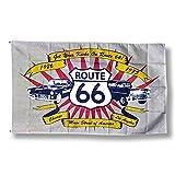 壁面を手軽にイメチェン インテリアフラッグ「Route66 ルート66」(サイズ:90×150cm) 【旗・国旗・バナー・タペストリー・アメリカン雑貨】