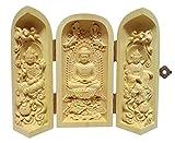 ツゲ 木彫仏像 彫刻 (阿弥陀三尊 坐)