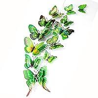 KTAIS 12PCS /たくさんの蝶ウォールステッカー二重層3D蝶カラフルなベッドルームのリビングルームホームFridageインテリアCF (色 : 緑)