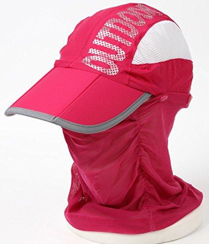 (ネットオー) NET-O サンキャップ ランニング用 スポーツ用 帽子 ゴルフ レディース UV カット 日除け 日焼け防止 紫外線 カット フェイスカバー アウトドア サイズ調節可 (ピンク)