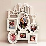 6面 壁掛け 家族 新婚 子供の成長 フォトフレーム Family デザイン ホワイト 写真入れ (小)