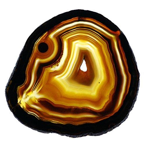 【N2 stone Natural】 天然石 瑪瑙 (メノウ・アゲート) スライス・スラブシリーズ / ジオード・結晶・鉱物・原石・標本 / パワーストーン | (橙系, 約98x82x4mm, 原産地:ブラジル)