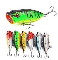 guaziv Popper PoperルアーフローティングPopperハードルアー強力なフック付きTopwater Bass Crankbait Popper釣りルアーTrout Crankbait Topwaterハード餌(Pack of 5)