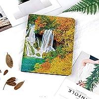iPad 2/3/4 対応 2つ折りケース スタンド機能 オートスリープ超薄型 傷つけ防止ケース 手帳型カバー 環境にやさしい材質色あせた秋の木々の間の岩を流れる滝