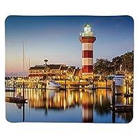 アメリカ合衆国、ヒルトンヘッドサウスカロライナ灯台トワイライトウォーターリフレクションボートカラー、多色、ステッチエッジノンススリップラバー