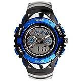 SKMEI 腕時計 キッズ アナデジ表示 日付曜日表示 LED クロノグラフ 防水 スポーツウォッチ ブルー