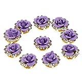 B Blesiya 多色選べ ボタン ビーズ ラインストーン 人工真珠 ファッション 手芸 装飾 12mm 10枚  - 紫