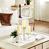 Deco 79 Wood Candle Holder 10 by 8 by 6-Inch White Set of 3