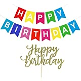Happy Birthday Banner Colourful Party Decorations Bunting Garland With Happy Birthday Cake Topper