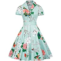Belle Poque Vintage Short Sleeve Floral A-line Party Picnic Tea Dress BP161